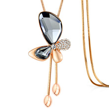 2017 Hot Sale Fashion Changeable Butterfly Crystal Pendant Long Chain Charm Sweater Necklace