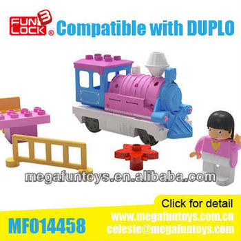 FUNLOCK Duplo Battery Operated Pink Train Engine Enlighten Brick Toys for Girl
