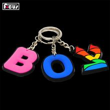 Newest sale fashion letter shaped pvc keychain/key holder/key ring