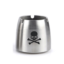 custom cool skull logo antique metal pocket ashtray with custom logo