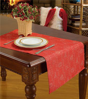 2016 Hot selling series Red color Dobby polyester Table Cloth Custom design Table Towel