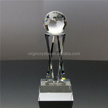 World globe crystal awards Trophy gift For presented to company employee