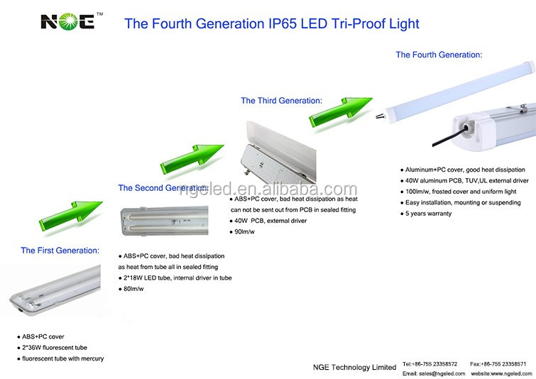 5 years warranty 100lm/w IP65 120cm emergency led tri-proof light