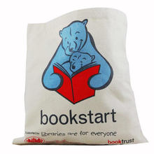 custom book start mother bear and baby bear print cotton tote bags