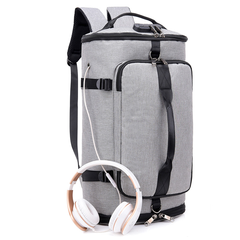 Multipurpose Hiking Rucksack <strong>Travel</strong> Carry On Convertible Backpack Canvas Duffel Bag With USB Port Earphone Hole Lock