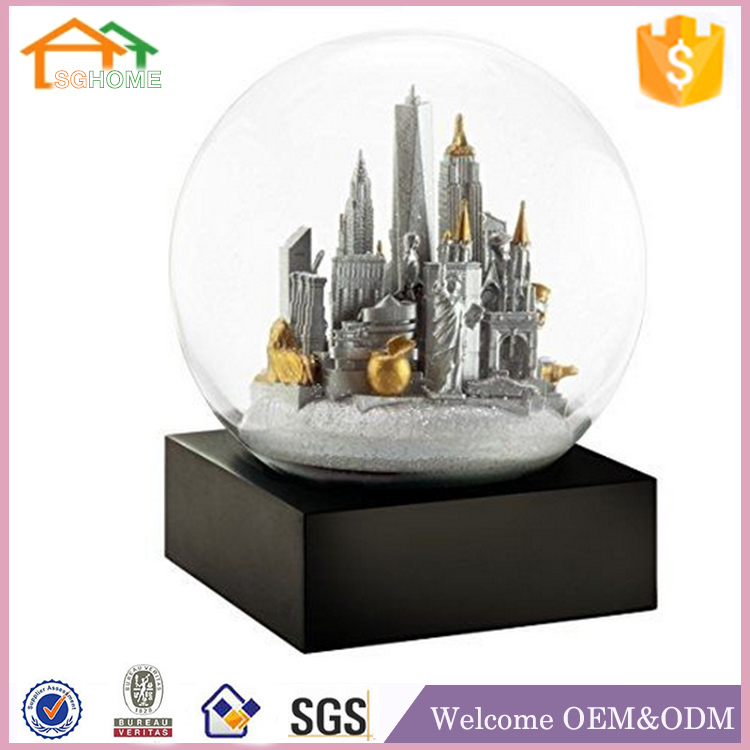 Custom made led eiffel tower souvenir water filled snow globe