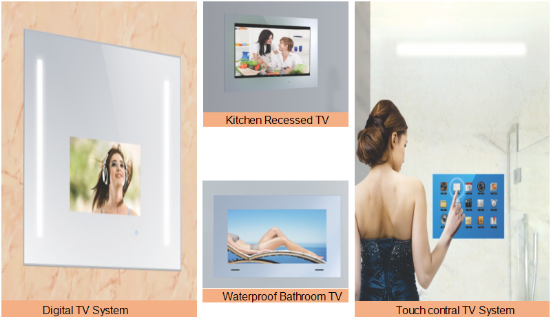 Luxury LED Light Waterproof LCD Bathroom Mirror Tv