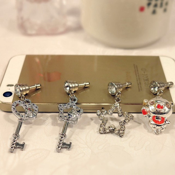 Wholesale Diamond Cute Cell Phone Dust Plugs Anti Dust Plug For Smartphone, Diamond phone vent plug