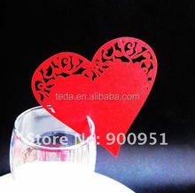 love shaped Wedding Table Decoration on Place Cards On Wine Glass