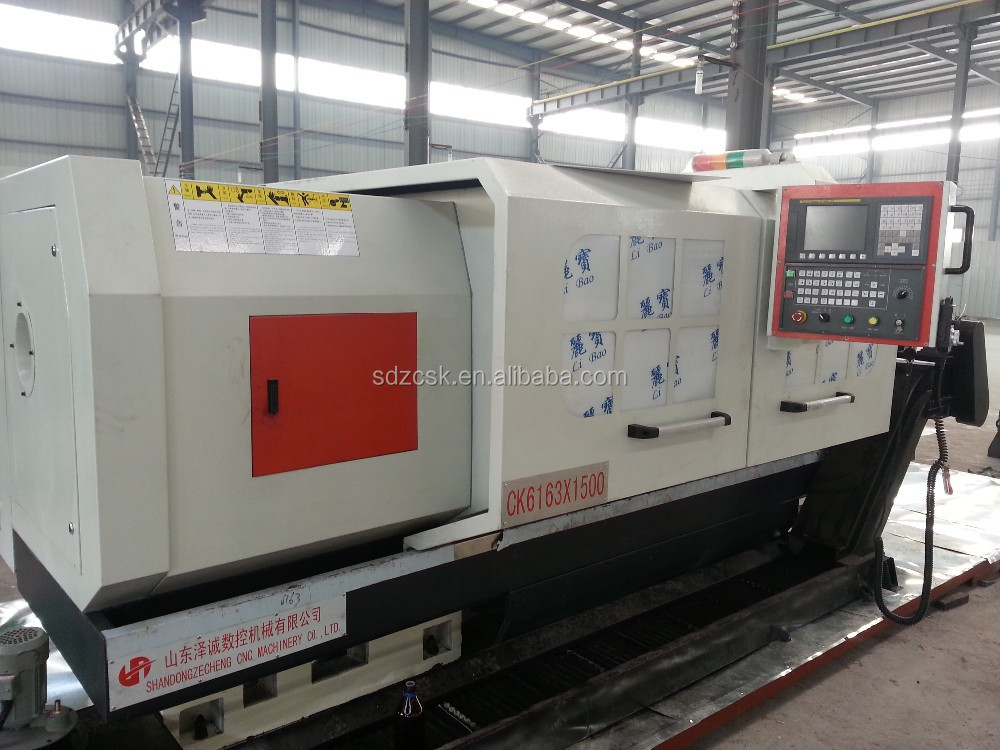 China high precision CNC wheel turning lathe CK6163 with auto chip conveyor