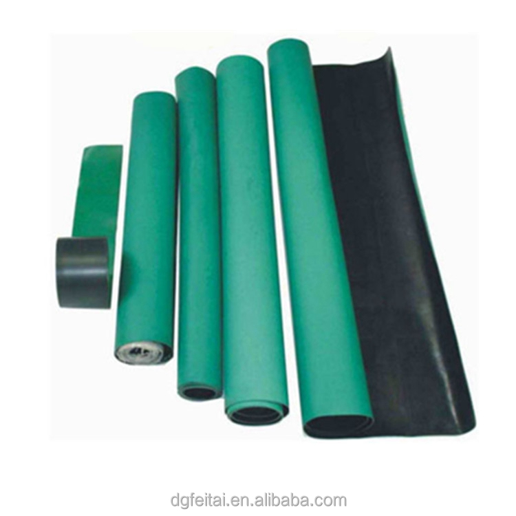 2 Layers 10M*1.0M*2MM Green ESD Clean Room Rubber Mat for Electrical and Electronic Products Production Factory