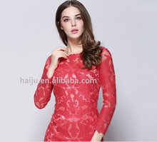 For sale Europe Embroidered lace red wedding dresses with sleeves
