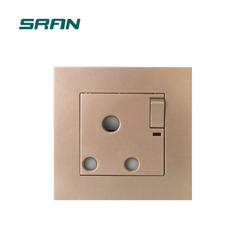 PC Flame retardant Golden color 3 Pin switched socket