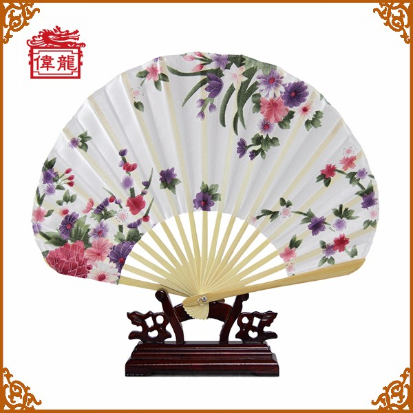 Hot Selling Japanese Bamboo Hand Fans White Flower GYS5070