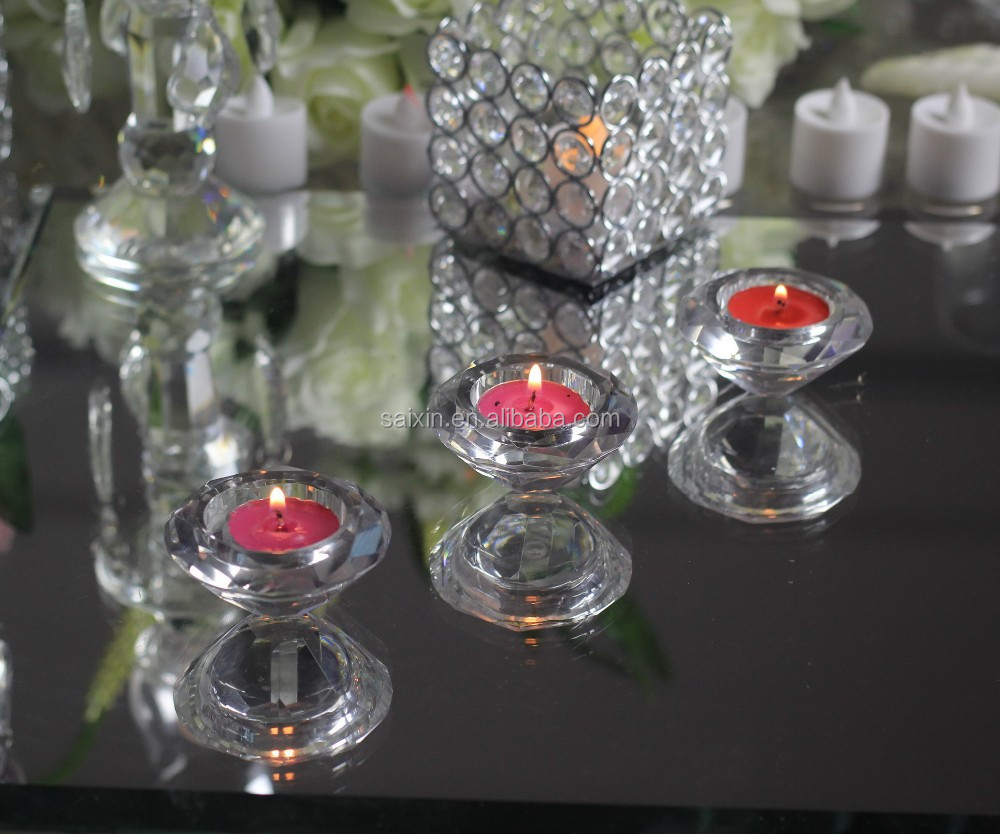 Wow !Shiny wedding table decorations k9 crystal diamond candle holders ZT-141