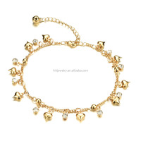 Lovely Sweet Girls Handmake Crystal Foot Jewelry love 18k gold Charm Anklet for Women