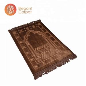 Religious 3D embossed muslim travel padded prayer mats blanket