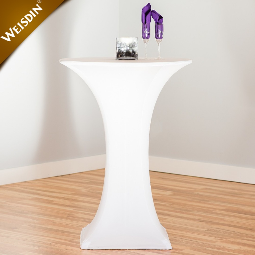 "30""x42"" white lycra stretch wedding bistro cocktail high top bar spandex table cover"