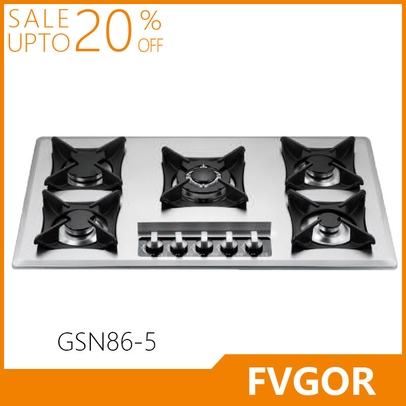 Fvgor GSN86-5 built in cast iron cookware stainless steel gas hob cooker stove