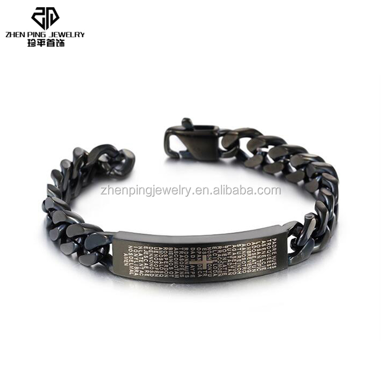 Popular etch scriptures stainless steel men wrist band