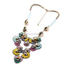 2015 new arrival Ms Major Suit Joker Summer Dress Accessories Unique Cluster Flowers Necklace Factory Wholesaleflowers fine je
