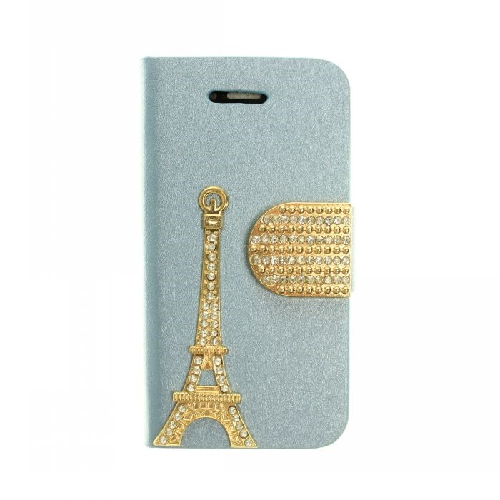 High Quality Diamond Gold Bling Paris Eiffel Tower Leather Case For iPhone 4 4s Credit Card Stand Cover