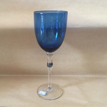 Blue Glass With Clear Long Stem Wine Glass Bar Dinner Party Entertain