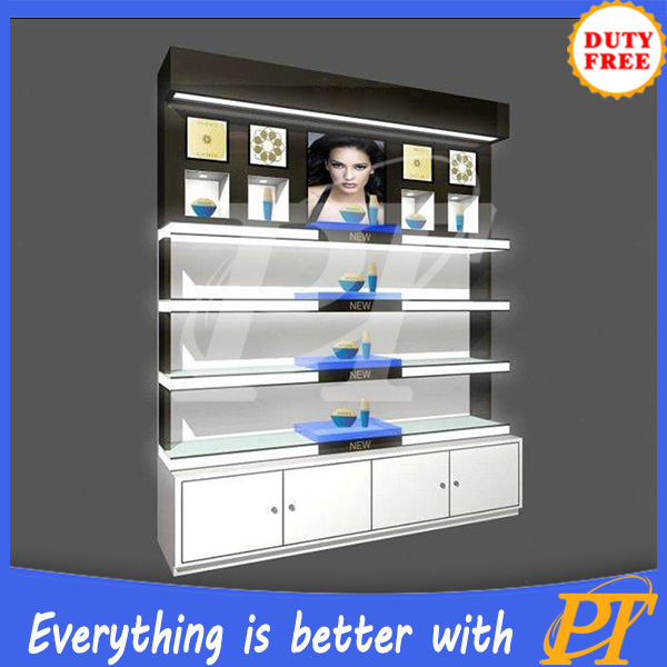 Professional makeup display stands glass cosmetics display cabinets