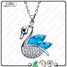2017 fashion New design light blue stone swan design charm necklace
