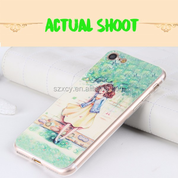 szxcy luxury 3D relief PU leather soft TPU Epoxy cell phone case cover for iphone 5 6 7 plus