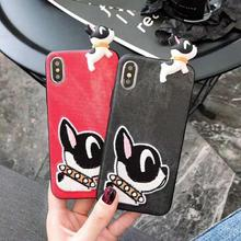TPU Case for iPhone 7 8 Cute French Bulldog Embroidered Silicone Leather Resistant Back Cover Soft Touch Slim Fit Flexible