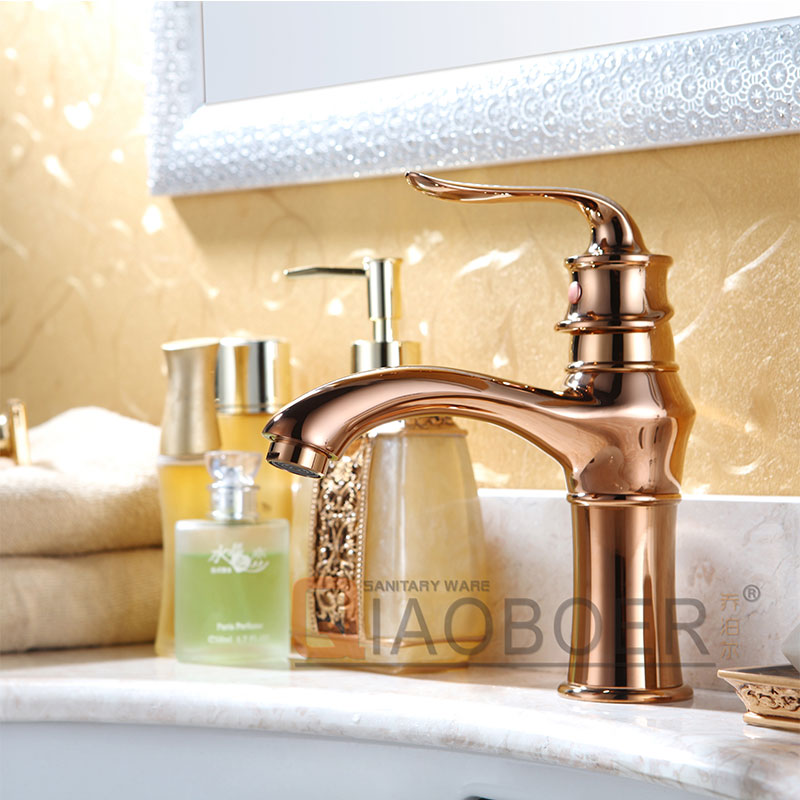Fashionable Design Hot Cold Water Rose Gold Sinks And Faucets