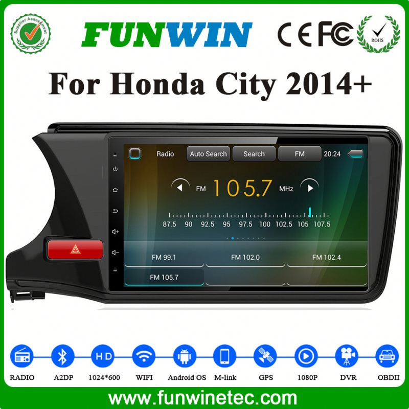 Funwin Hot Sale Support 3G/Wifi/Audio/Video Double Din Digital Touch Screen Car Stereo For Honda City
