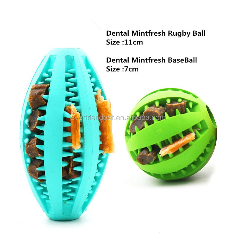 2016 Best Selling Eco-friendly Durable Rubber Dental chewing toy /dog treat ball