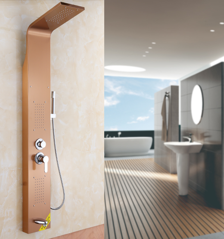 ROVATE Free Standing Shower Panel Gold 304 Stainless Steel Wall Mounted Shower Sets