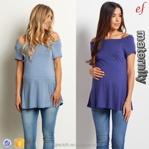 2017 New Arrival Wholesale Maternity Clothing Navy Blue Off Shoulder Short Sleeve Maternity Top