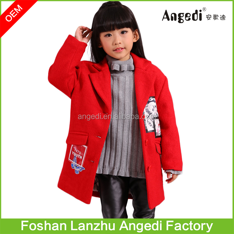 2016 New Kid Clothes Girls Jackets Long Coat Latest Design Tweed Winter Coat