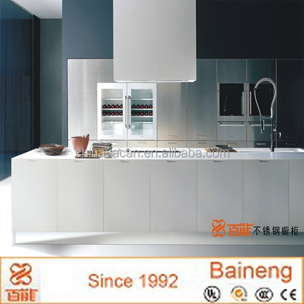 Baineng kitchen cabinet factory display high gloss white lacquer stainless steel kitchen cabinet for sale