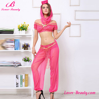 Private label pink transparent lace chinese sexy belly dance costume