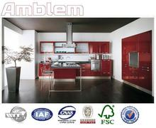 2017 modern red lacquer kitchen cabinet design