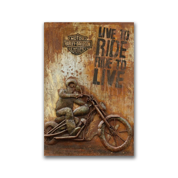 Rustic Outdoor Motorcycle Art 3D Painting