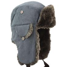 Wholesale Men latest top sale trapper hat with faux fur ,winter hats with strings and earflap