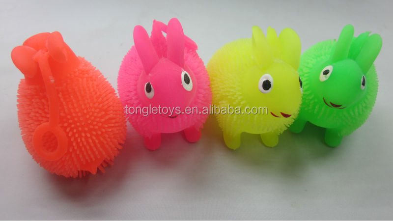 Cheap rate LED puffer ball cute rabbit design with yoyo