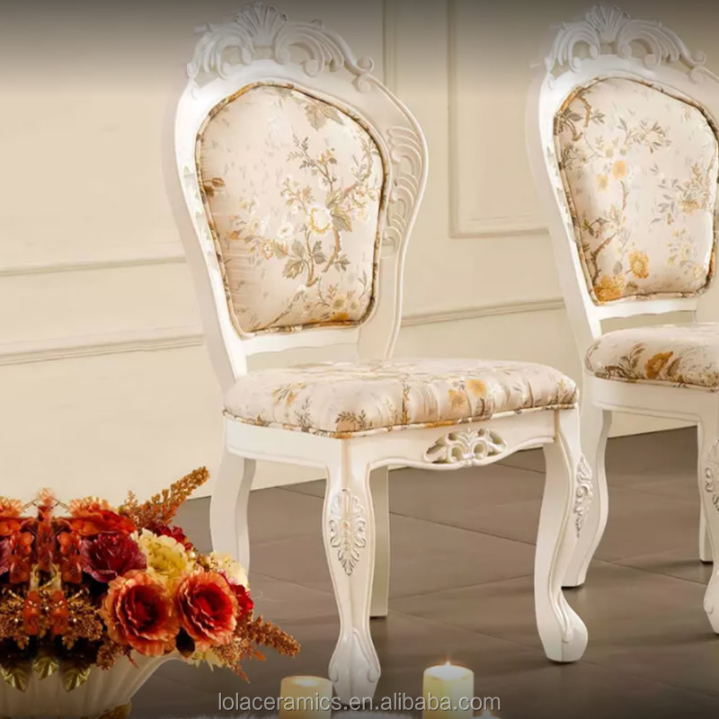 Royal European Classic Dining Room Chair Fabric Wood Design Restaurant Furniture Source Building Material:chinahomeb2b.com