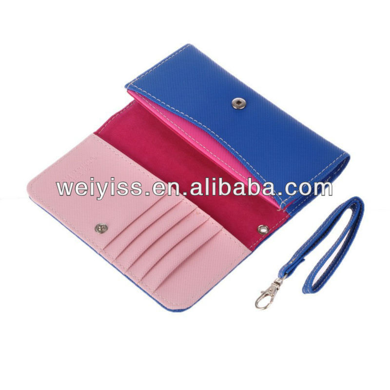 Women Lady Wallet Strap Card Slots Phone Bag Case for Iphone 5 4g 4s