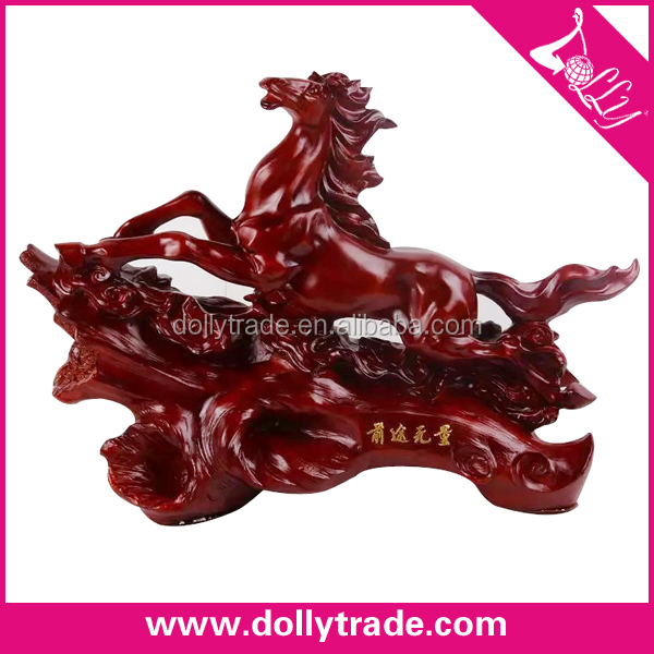 top quality red resin horse desktop statue