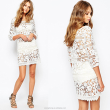 Sexy lady dress design Sheer lace 3/4 Sleeve Lace Mini Dress in White