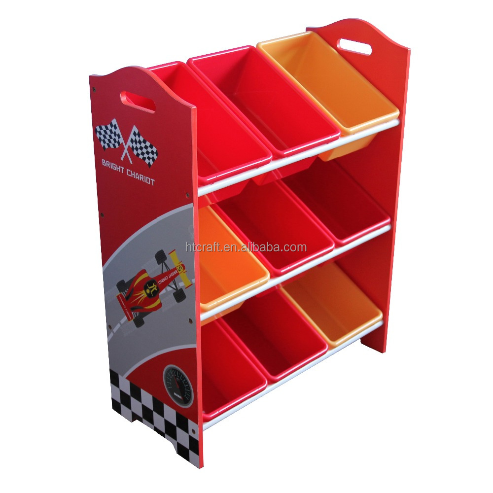 HT-SCKS01 NEW Racing car wooden MDF furniture toy organizer with plastic storage bins for kids car cartoon furniture design