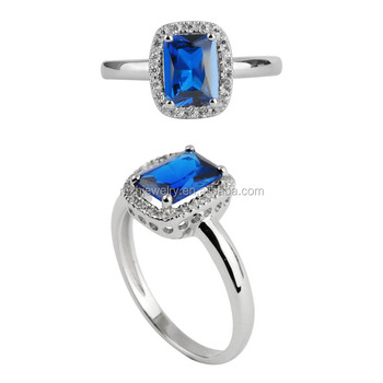 micro pave setting emerald cut large sapphire CZ stone 925 sterling silver ring