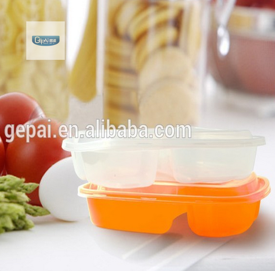 Plastic pp 3 compartment containers microwave food container